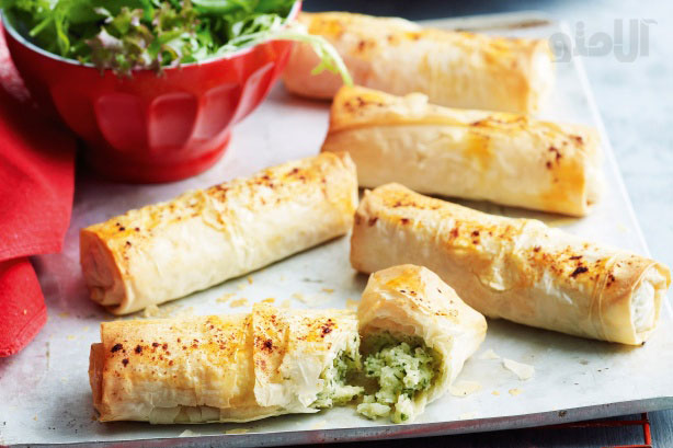 Cheese, potato and herb filo parcels